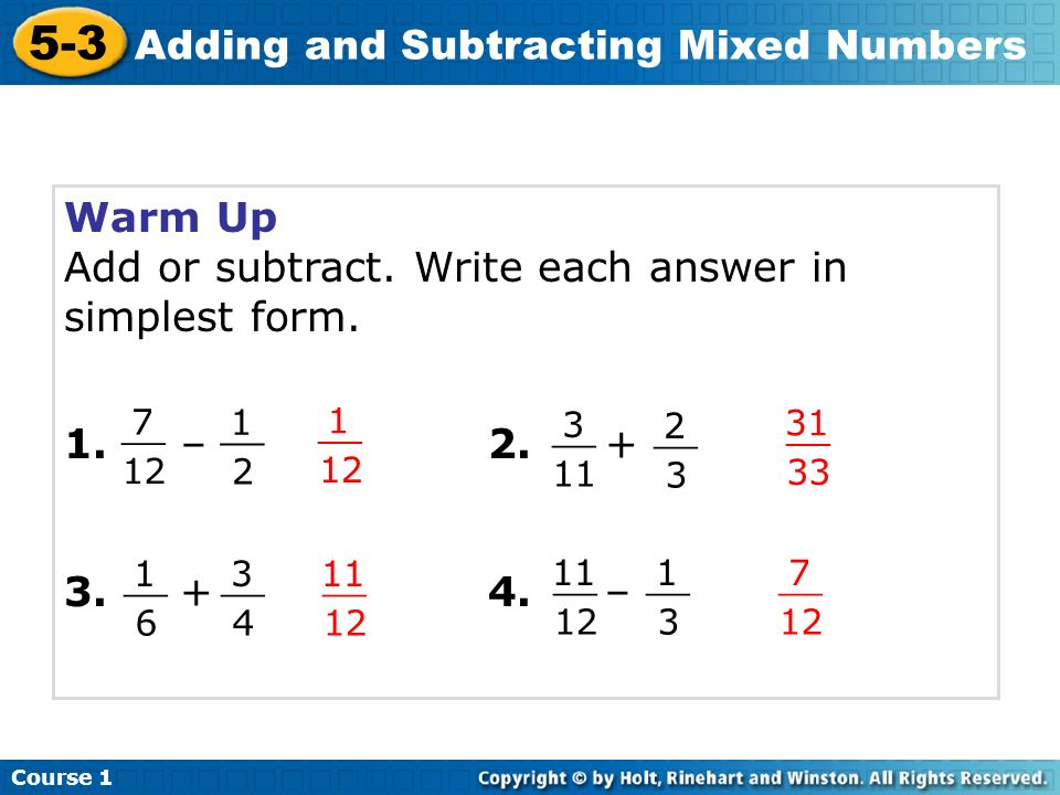 simplest form addition  7-7 Adding and Subtracting Mixed Numbers Warm Up Problem of ...