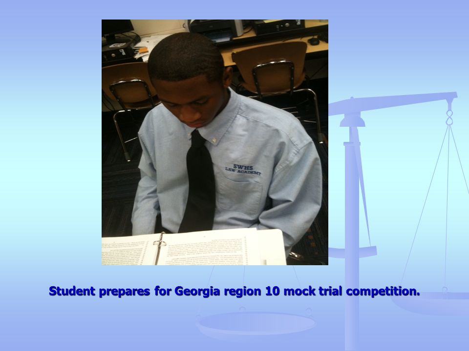 Student prepares for Georgia region 10 mock trial competition.