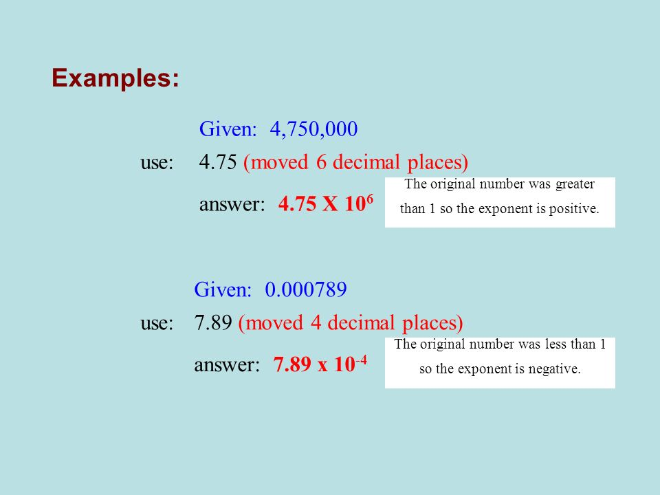 Examples: Given: 4,750,000 use: 4.75 (moved 6 decimal places)