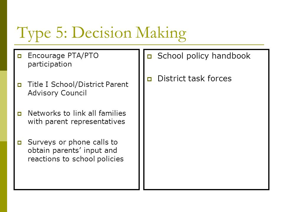 Type 5: Decision Making School policy handbook District task forces