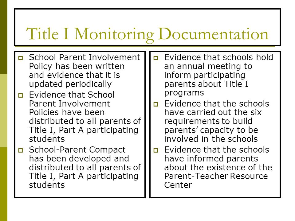 Title I Monitoring Documentation