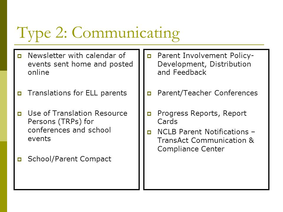 Type 2: Communicating Newsletter with calendar of events sent home and posted online. Translations for ELL parents.