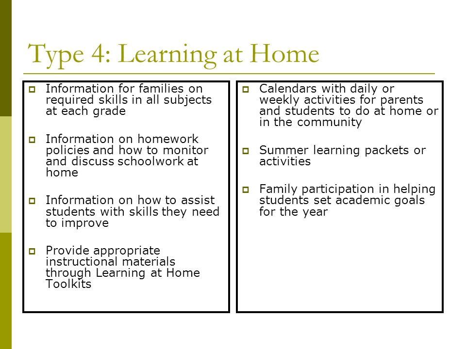 Type 4: Learning at Home Information for families on required skills in all subjects at each grade.