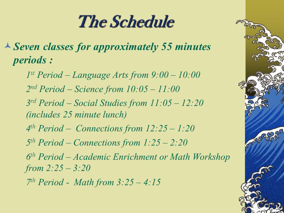 The Schedule Seven classes for approximately 55 minutes periods :