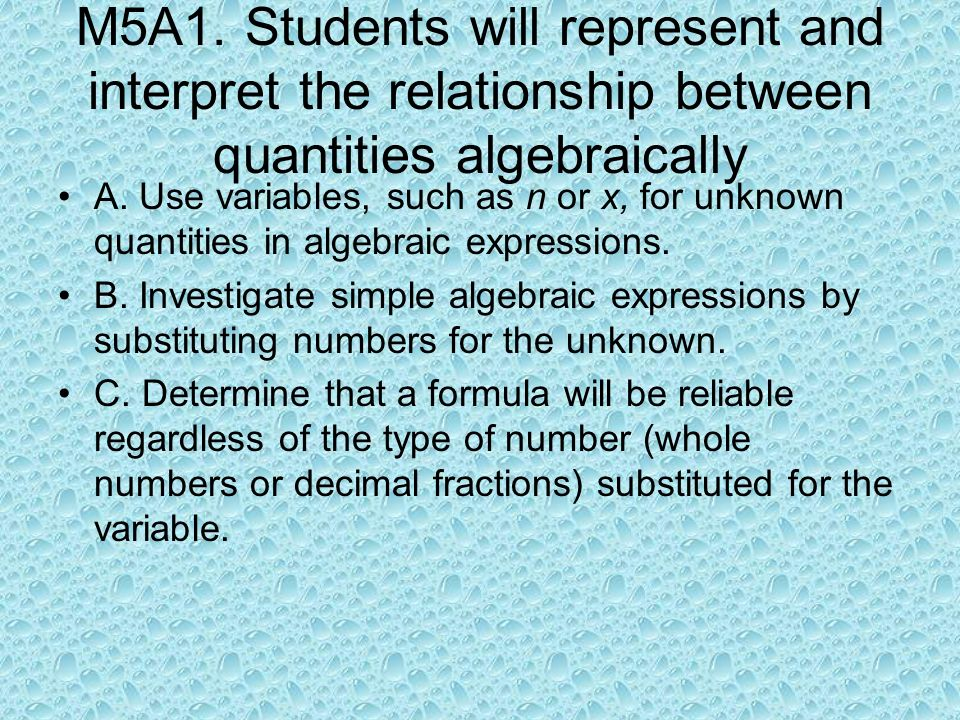M5A1. Students will represent and interpret the relationship between quantities algebraically