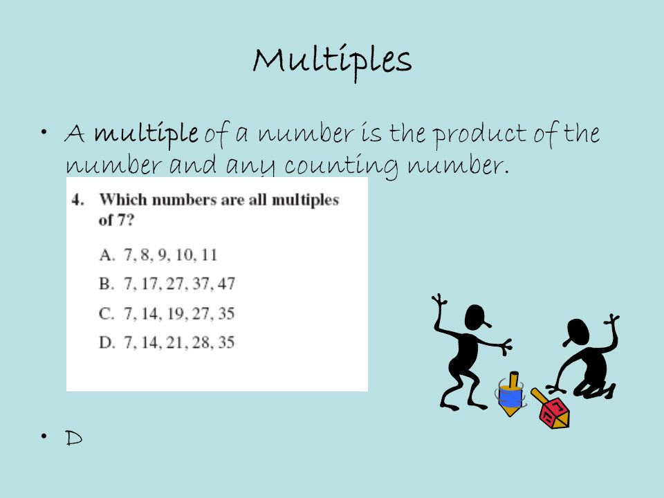Multiples A multiple of a number is the product of the number and any counting number. D