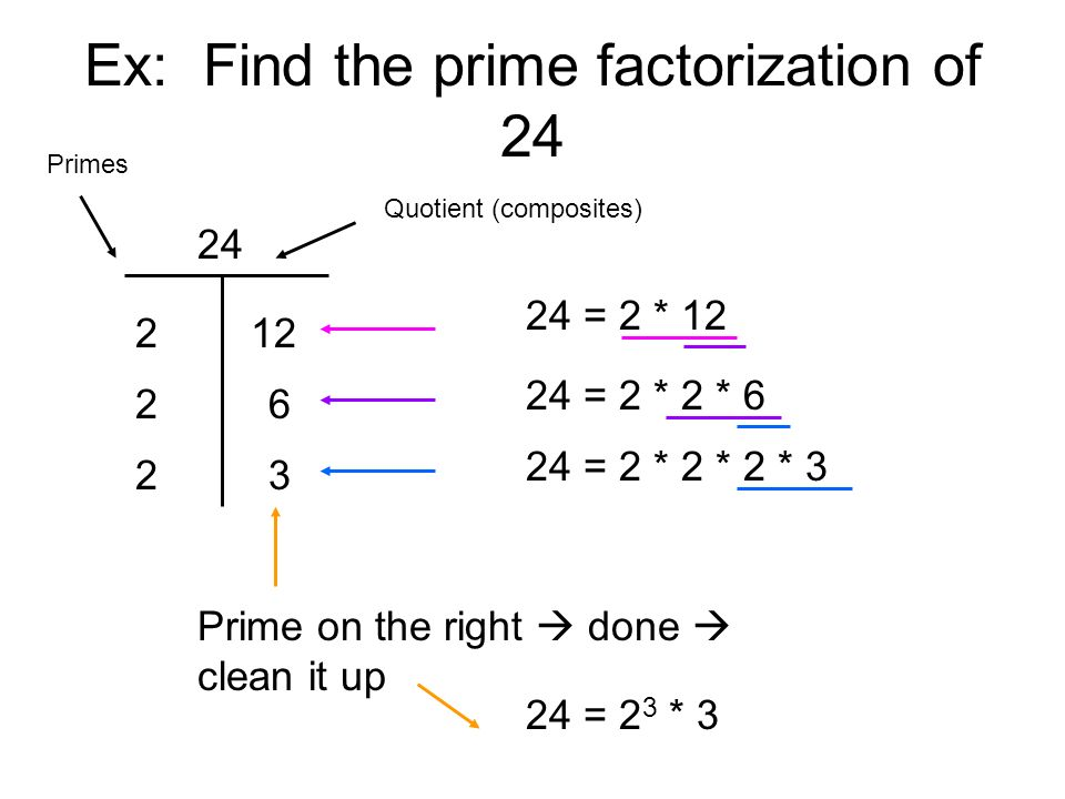 Ex: Find the prime factorization of 24
