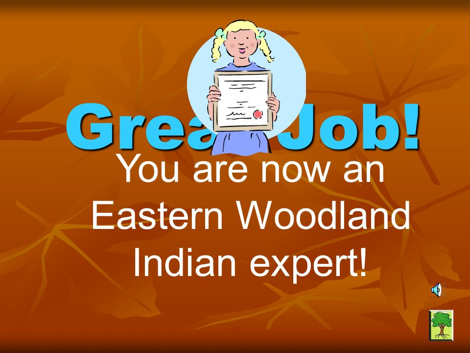 You are now an Eastern Woodland Indian expert!
