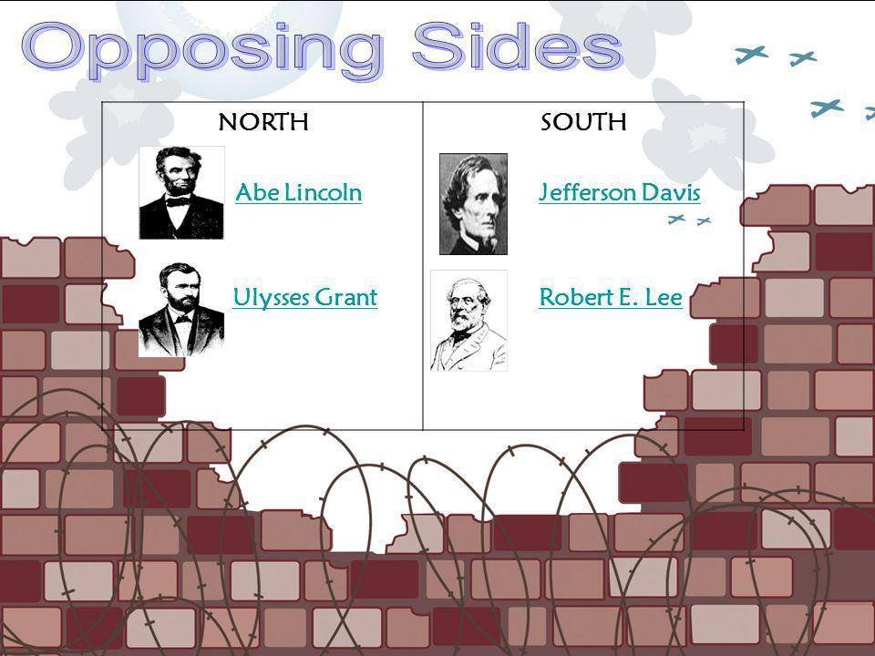 Opposing Sides NORTH Abe Lincoln Ulysses Grant SOUTH Jefferson Davis
