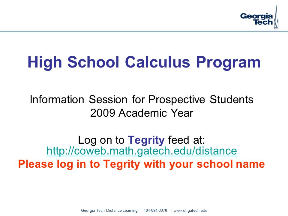 High School Calculus Program