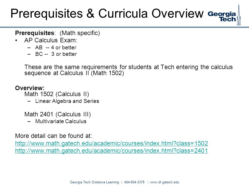 Prerequisites & Curricula Overview