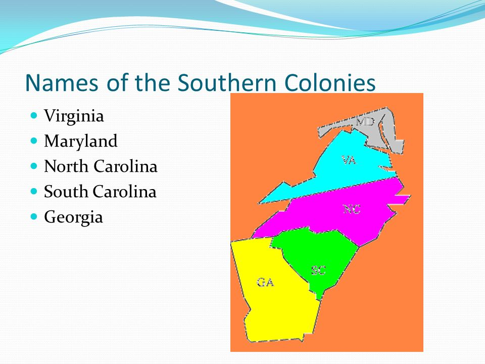 Names of the Southern Colonies