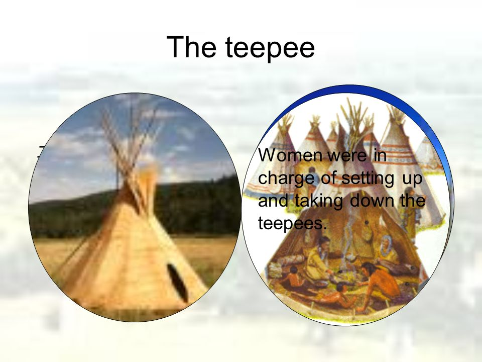 The teepee The Plains Indians lived in teepees made out of buffalo hides. Women were in charge of setting up and taking down the teepees.