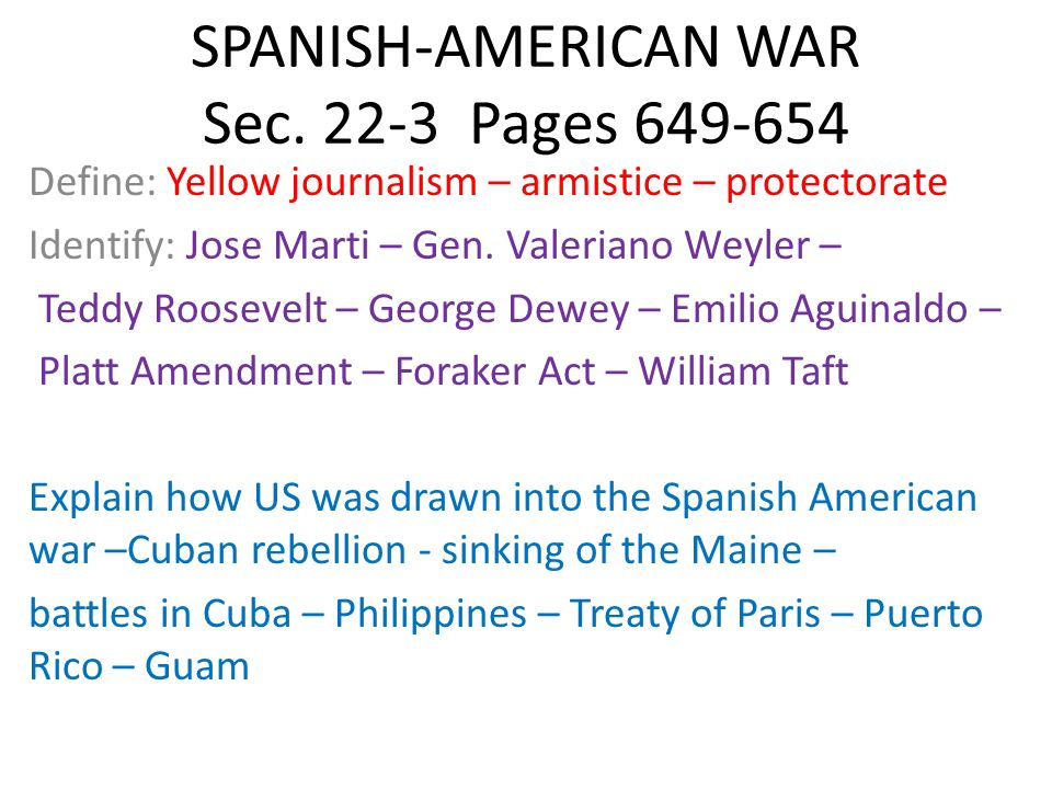 SPANISH-AMERICAN WAR Sec Pages