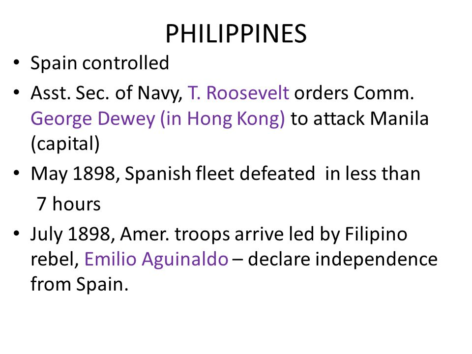 PHILIPPINES Spain controlled