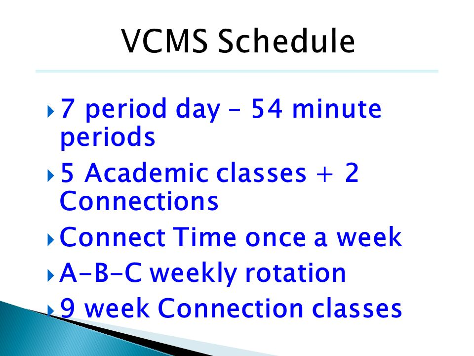 VCMS Schedule 7 period day – 54 minute periods