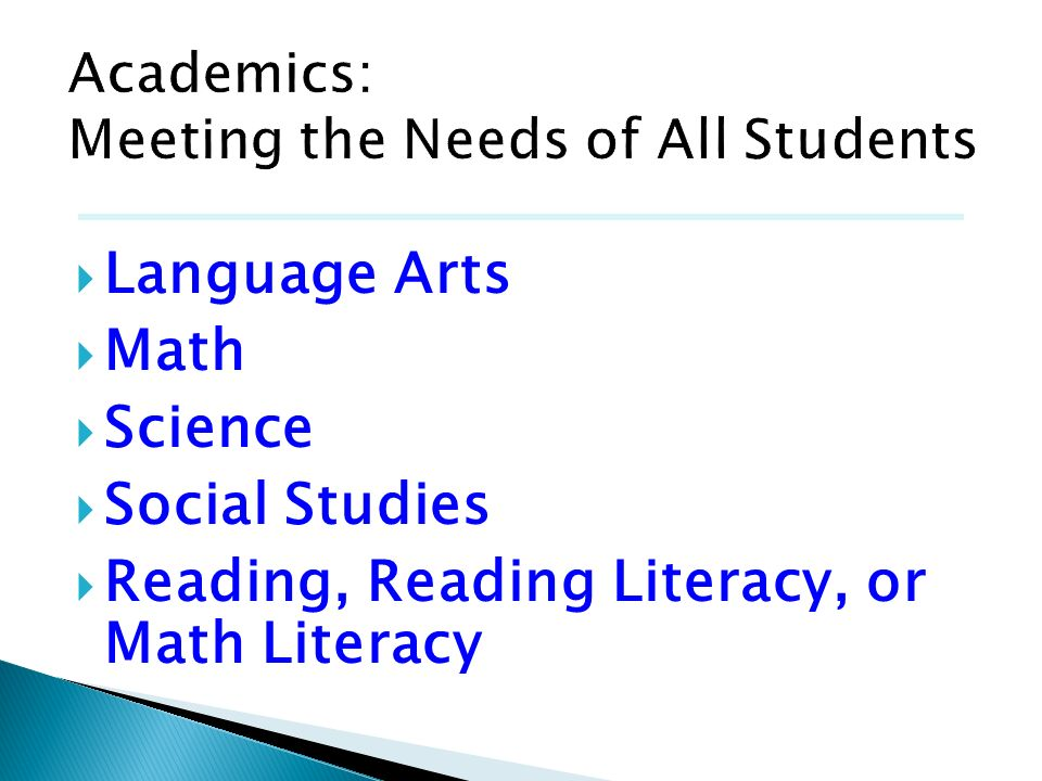 Academics: Meeting the Needs of All Students