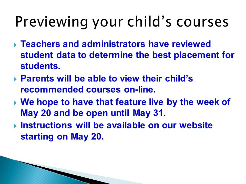 Previewing your child's courses