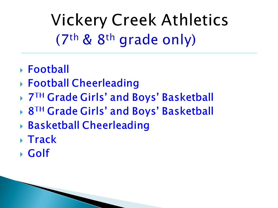 Vickery Creek Athletics (7th & 8th grade only)
