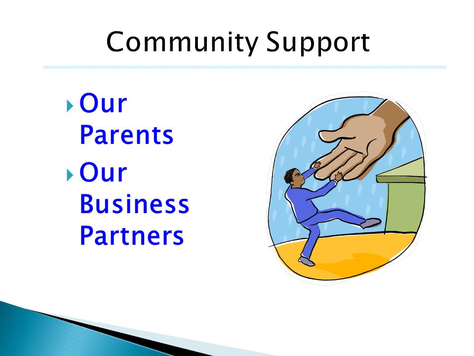Community Support Our Parents Our Business Partners Amy