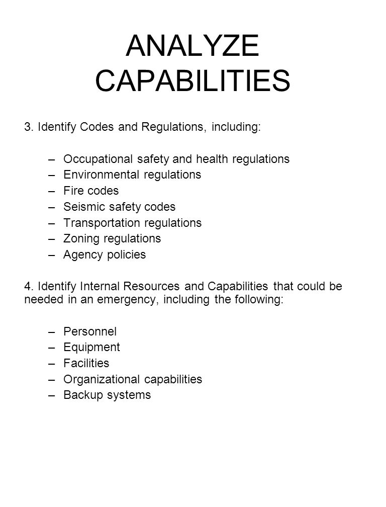 ANALYZE CAPABILITIES 3. Identify Codes and Regulations, including: