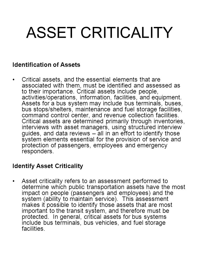 ASSET CRITICALITY Identification of Assets
