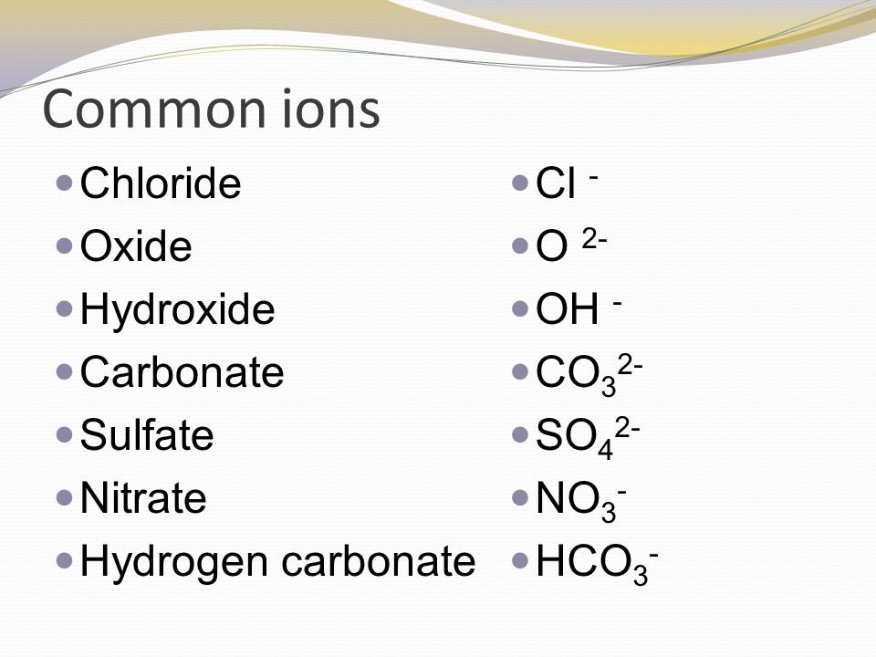 Naming chemicals name chemical substances from their formula and common ions chloride oxide hydroxide carbonate sulfate nitrate urtaz Image collections