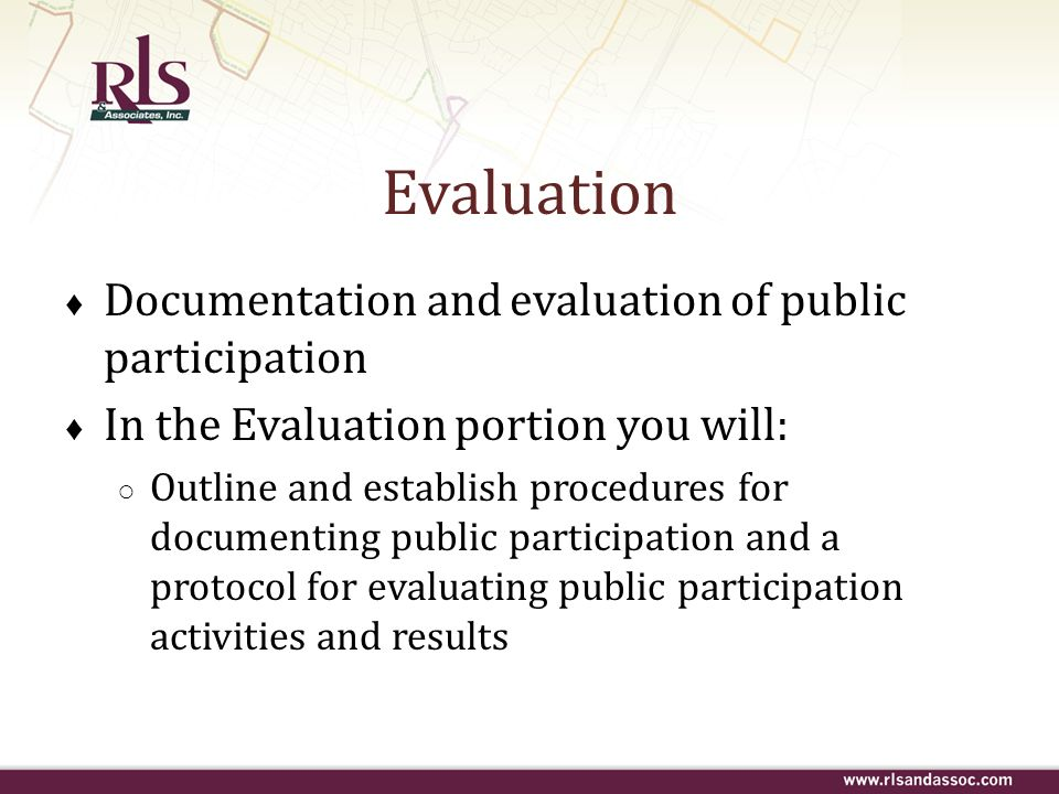 Evaluation Documentation and evaluation of public participation