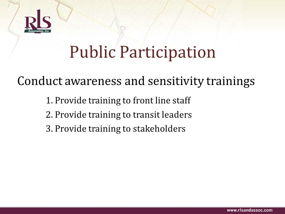 Public Participation Conduct awareness and sensitivity trainings