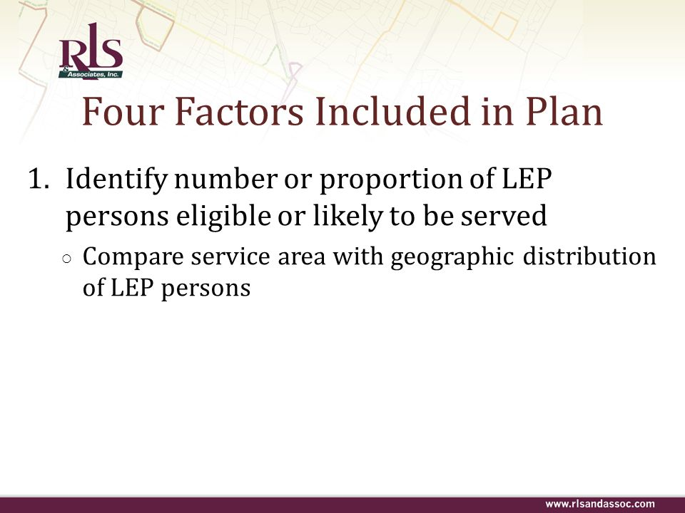 Four Factors Included in Plan