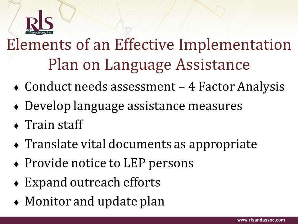 Elements of an Effective Implementation Plan on Language Assistance