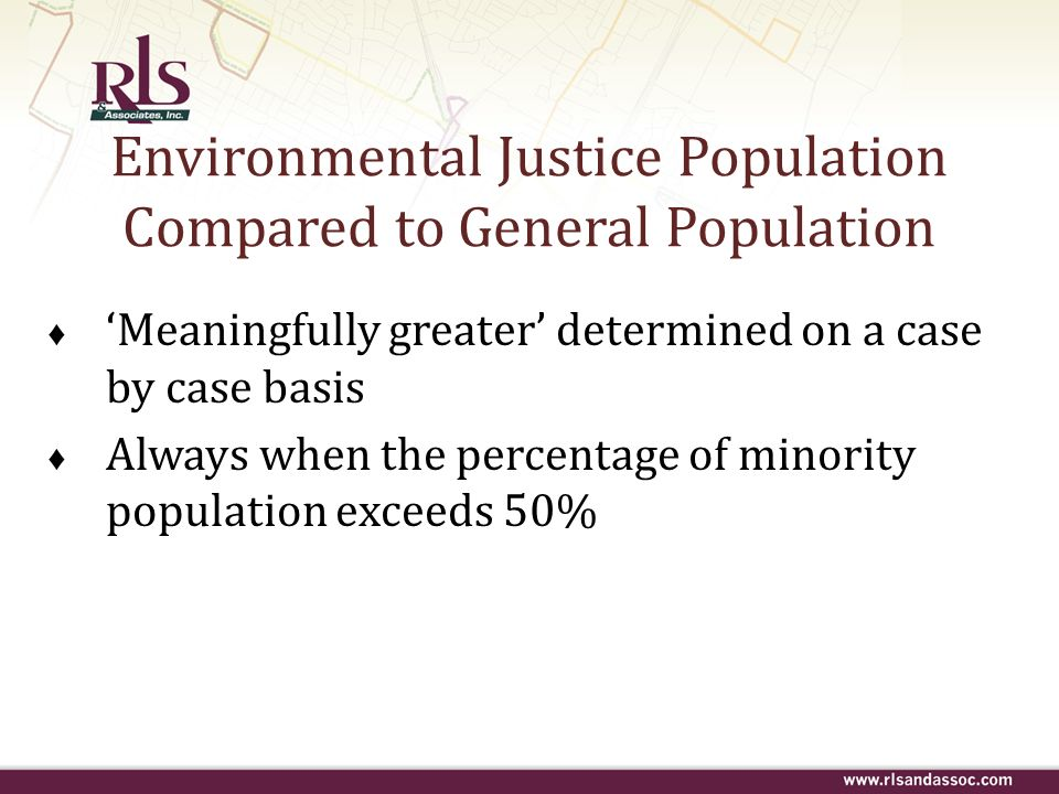 Environmental Justice Population Compared to General Population