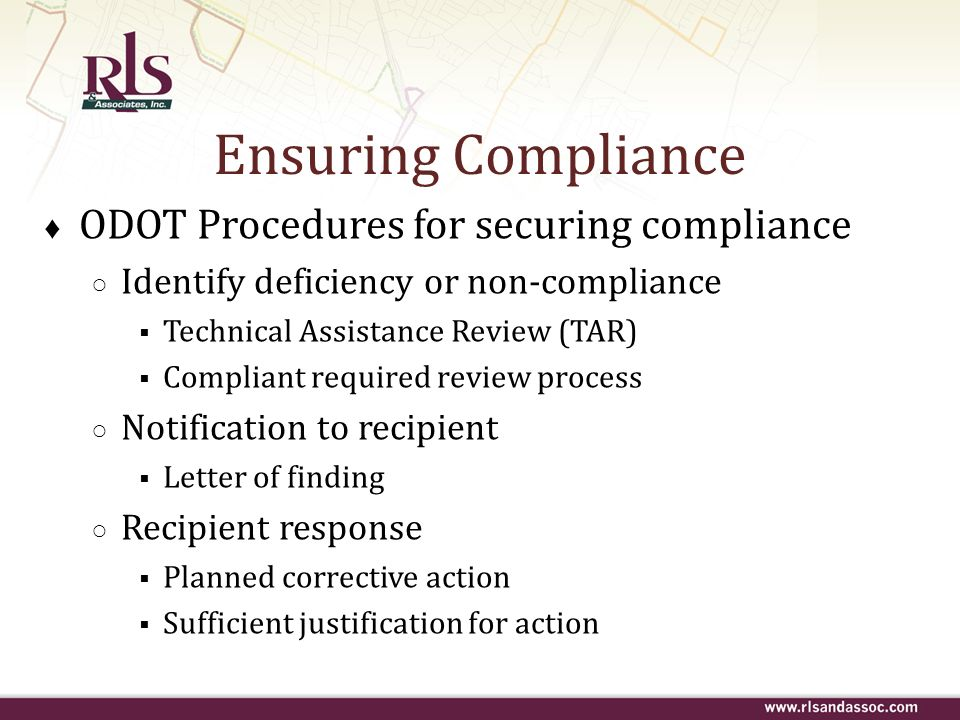 Ensuring Compliance ODOT Procedures for securing compliance