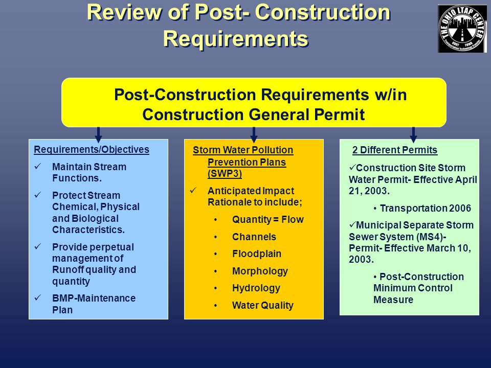 Review of Post- Construction Requirements