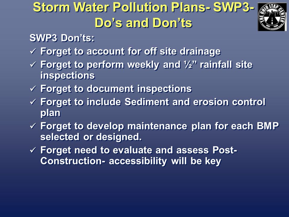 Storm Water Pollution Plans- SWP3- Do's and Don'ts