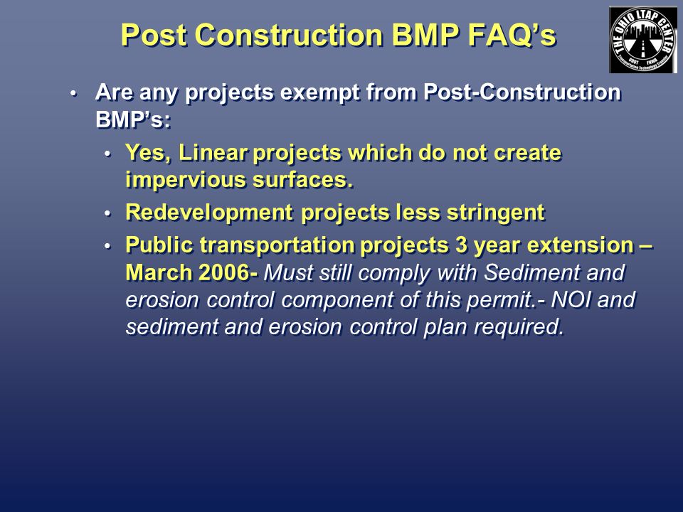 Post Construction BMP FAQ's
