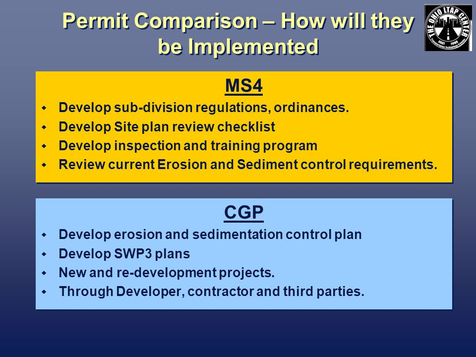 Permit Comparison – How will they be Implemented