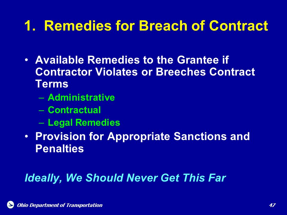 1. Remedies for Breach of Contract