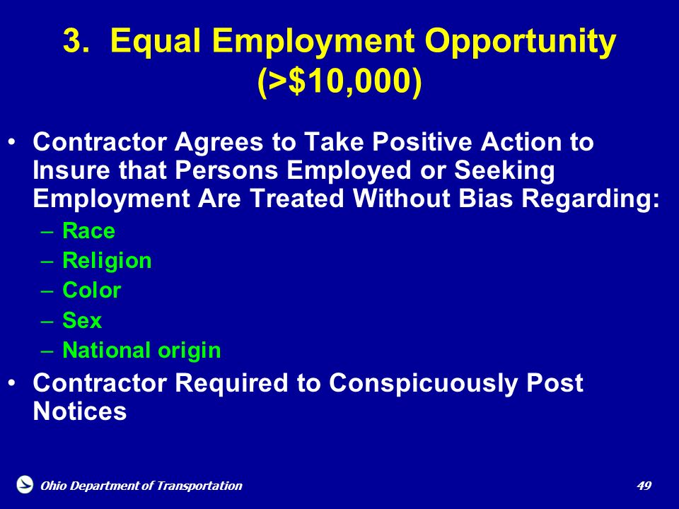 3. Equal Employment Opportunity (>$10,000)