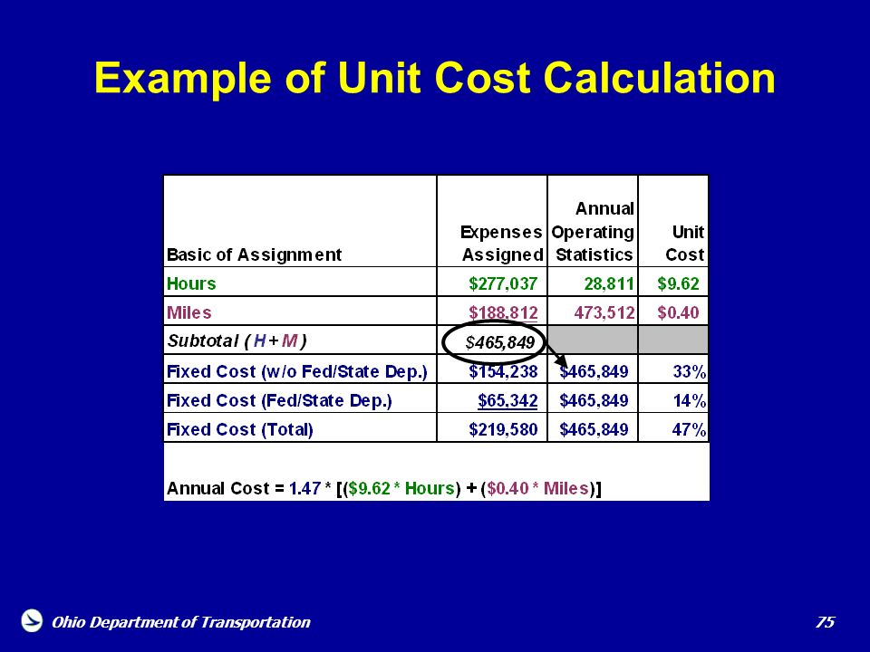 Example of Unit Cost Calculation