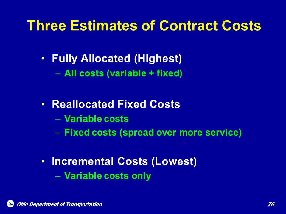 Three Estimates of Contract Costs