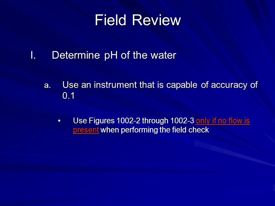 Field Review Determine pH of the water