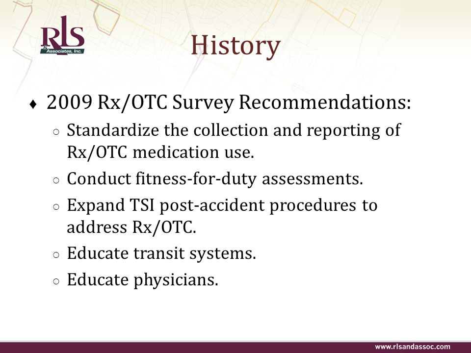 History 2009 Rx/OTC Survey Recommendations: