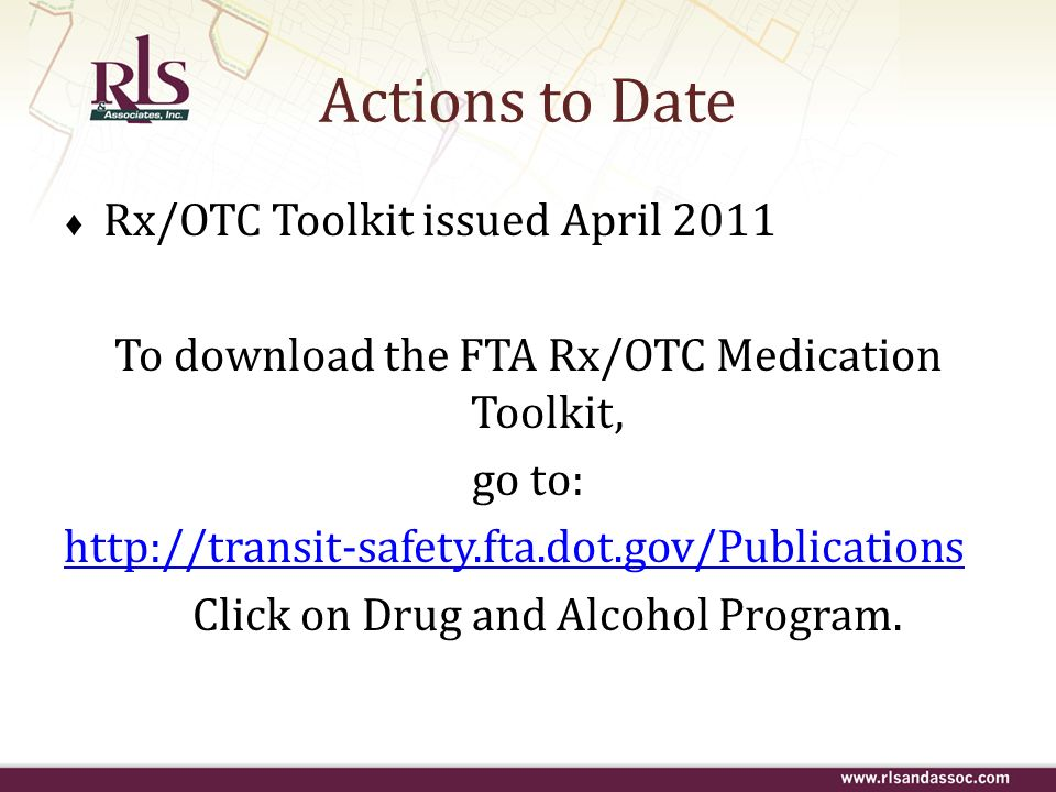 Actions to Date Rx/OTC Toolkit issued April 2011