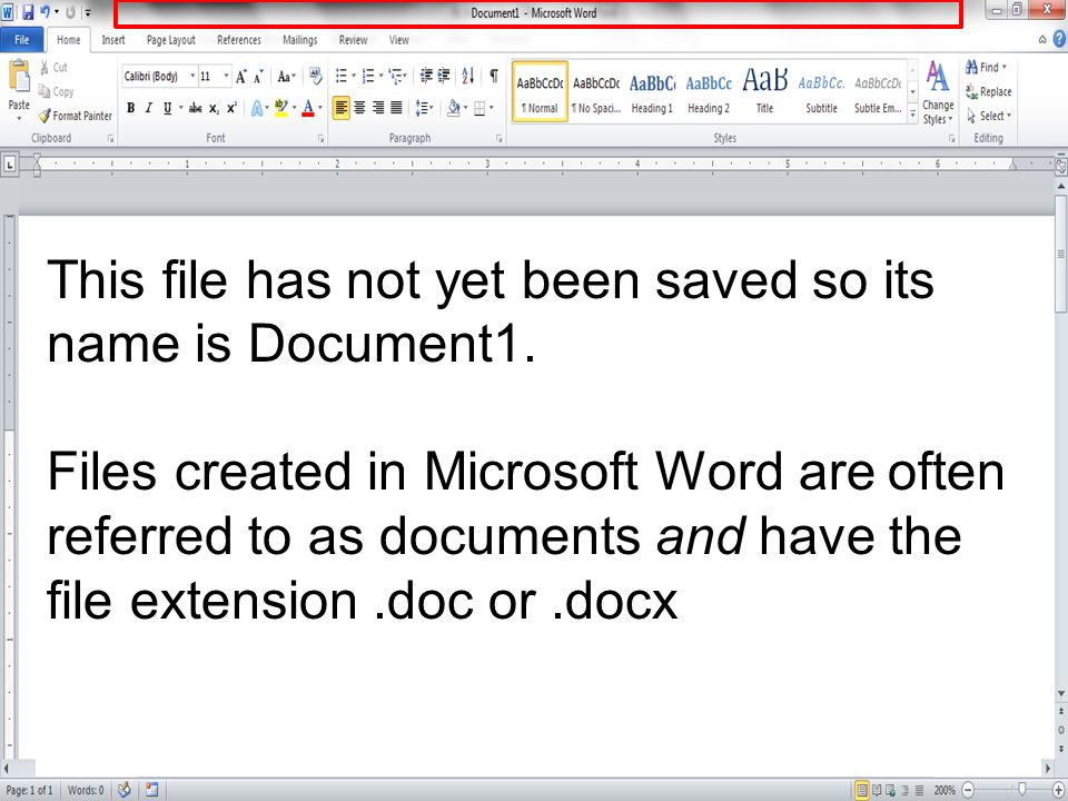 This file has not yet been saved so its name is Document1.