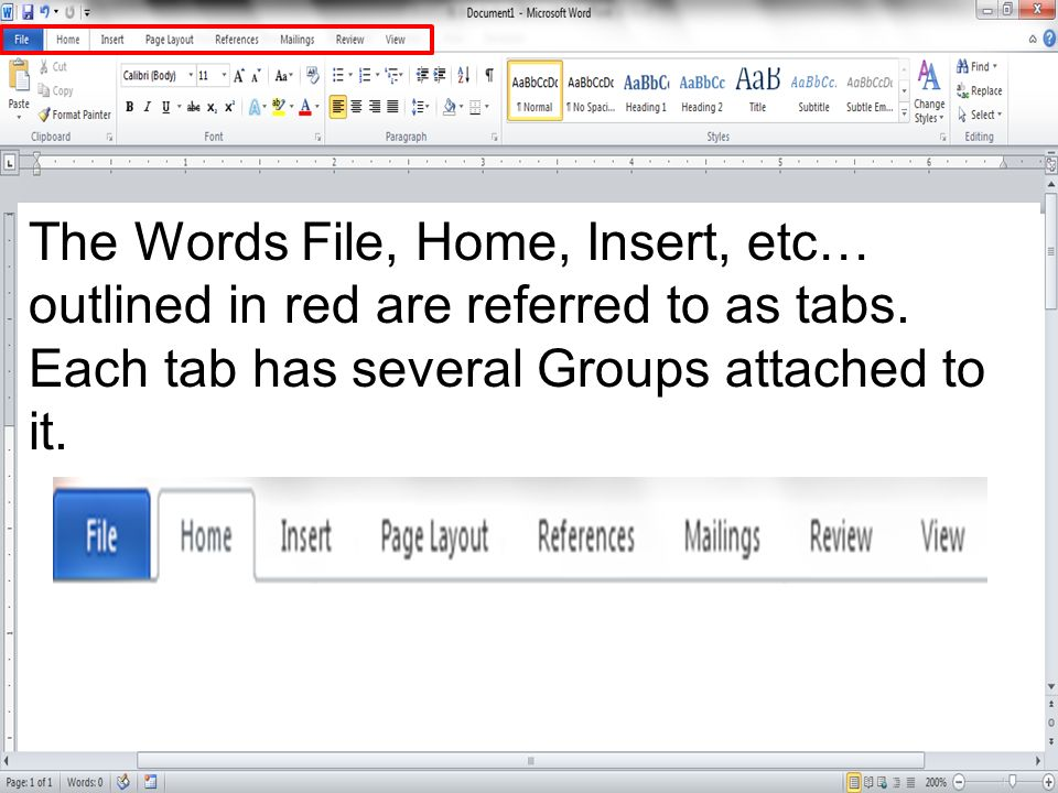 The Words File, Home, Insert, etc… outlined in red are referred to as tabs.