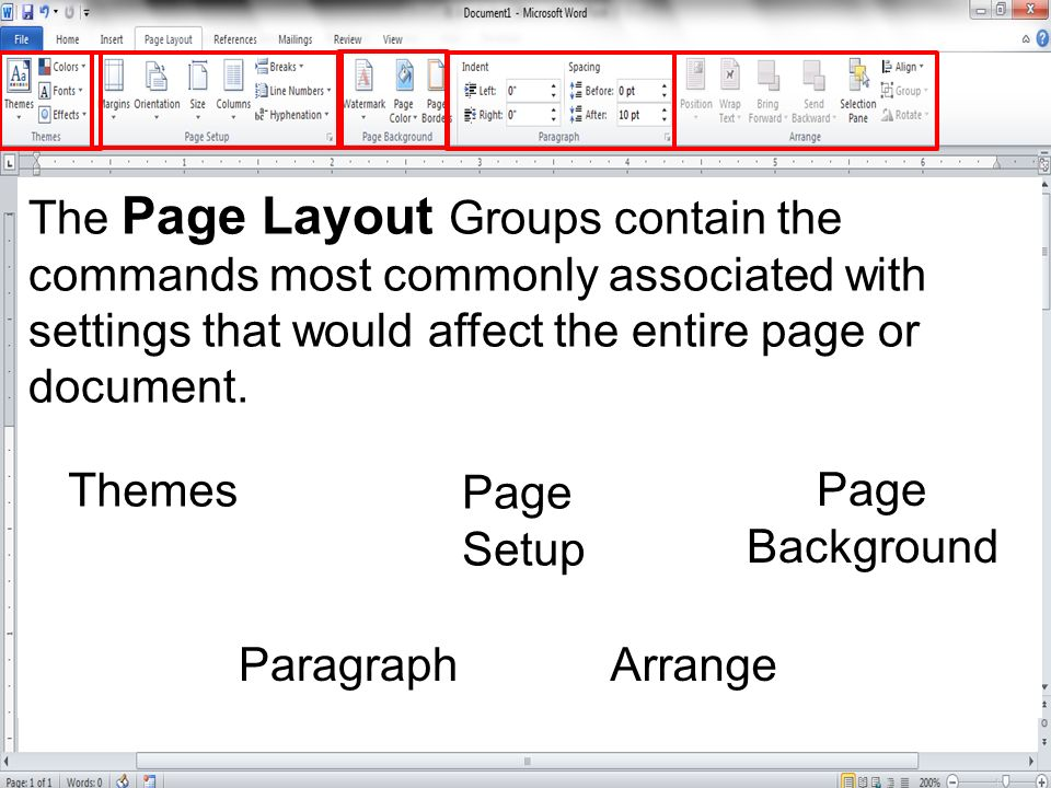 The Page Layout Groups contain the commands most commonly associated with settings that would affect the entire page or document.