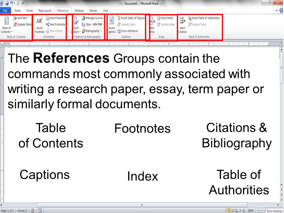 The References Groups contain the commands most commonly associated with writing a research paper, essay, term paper or similarly formal documents.