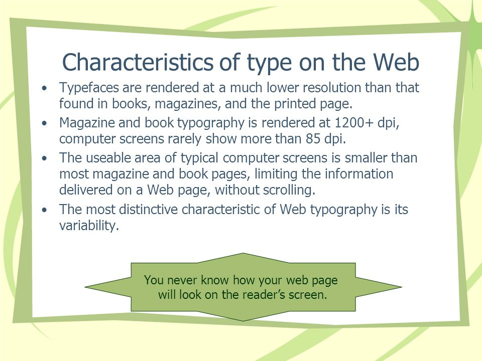 Characteristics of type on the Web