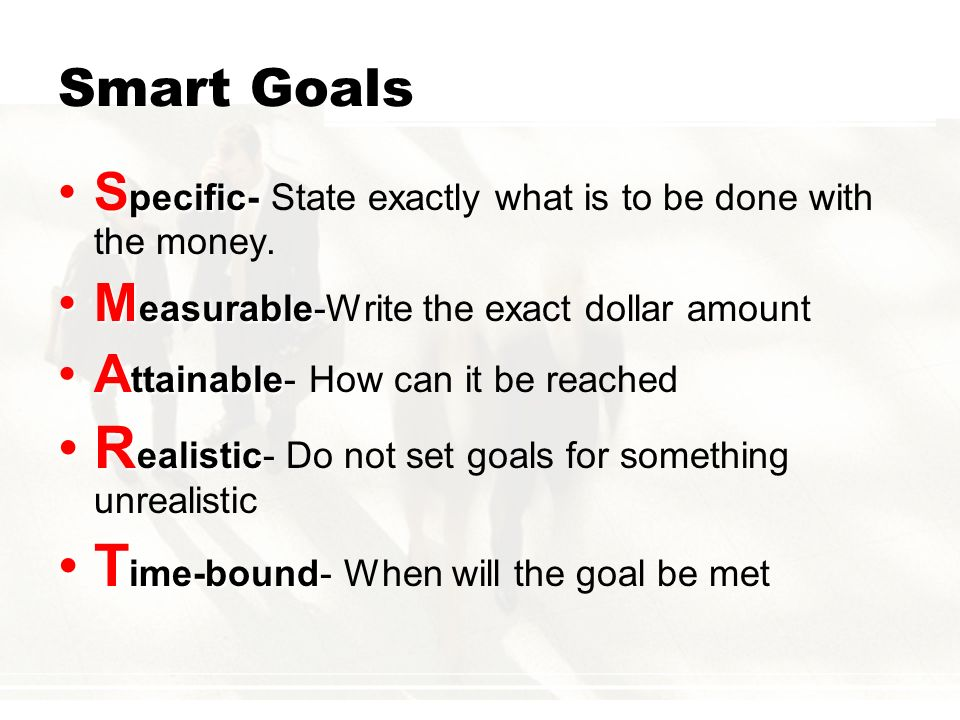 Realistic- Do not set goals for something unrealistic